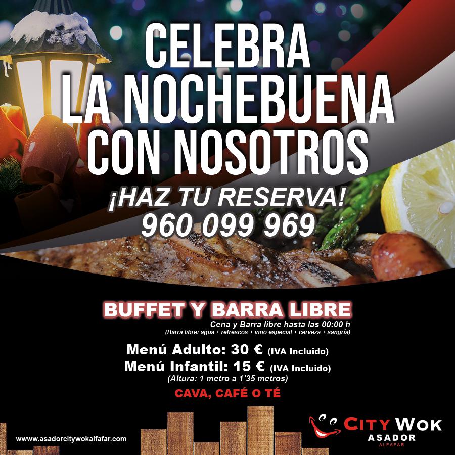 Celebra Nochebuena en Asador City Wok de Alfafar (Valencia)